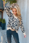 Hold Me Forever Leopard Frayed Sweater : Black