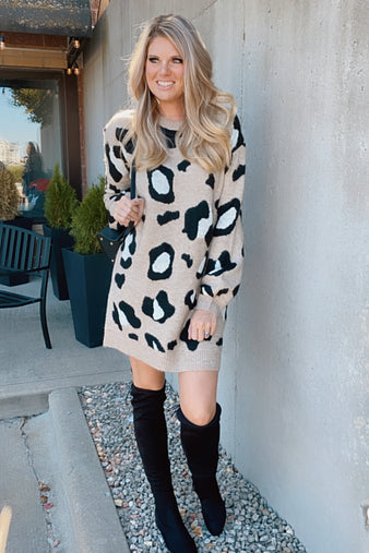 Wild Dancing Leopard Sweater Dress : Brown