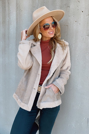 Stay Beautiful Fur Lined Suede Jacket : Taupe