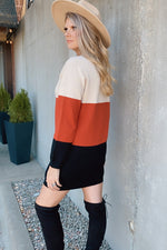 Better Than That Color Block Sweater Dress : Rust Multi