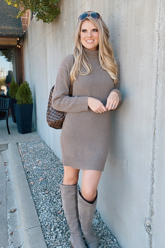 Always Finding You Cowl Neck Sweater Dress : Mocha