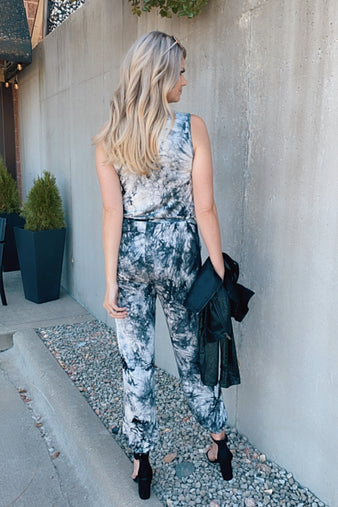 Midnight Sky Cinched Waist Tie Dye Jumpsuit : Black
