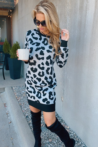 Story Of Tonight Leopard Sweater Dress : Grey