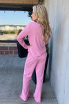 Stay Awhile V-Neck Lounge Set : Pink
