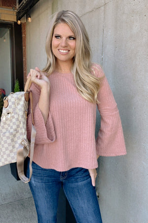Just In Time Bell Long Sleeve Top : Blush