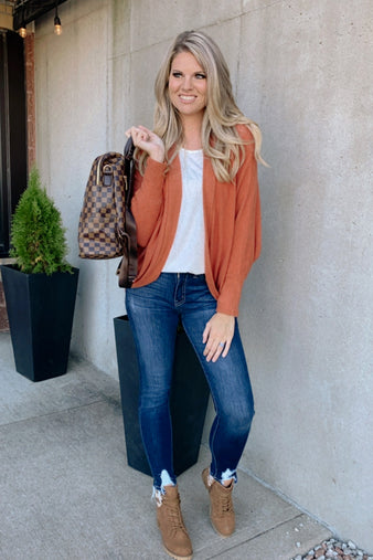 Think About It Dolman Sleeve Cardigan : Rust