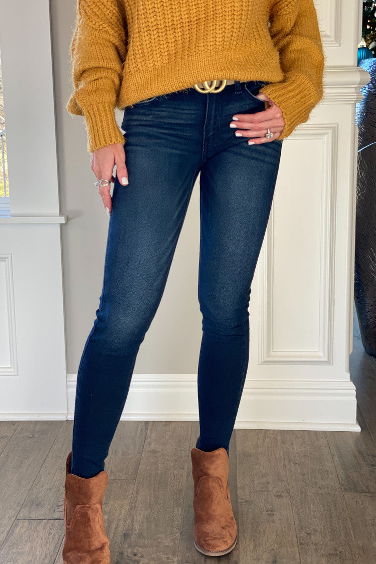 Desiree KanCan Mid Rise Super Skinny Jean : Dark Wash