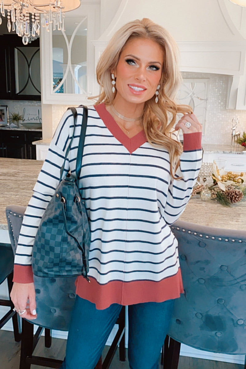 Reaching For You V-Neck Striped Sweater : Ivory