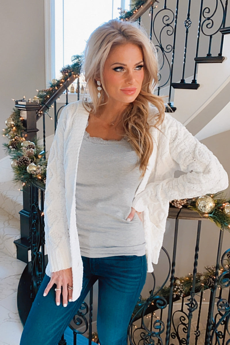 Such A Softie Front Button Cardigan : White