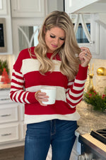 Candy Cane Lane Stripe Sweater : Red/Ivory