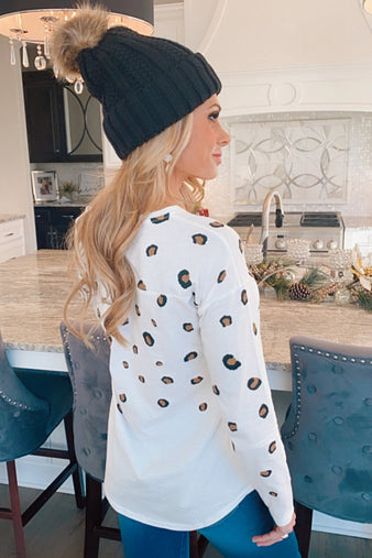 Told You So Long Sleeve Leopard Top : Off White