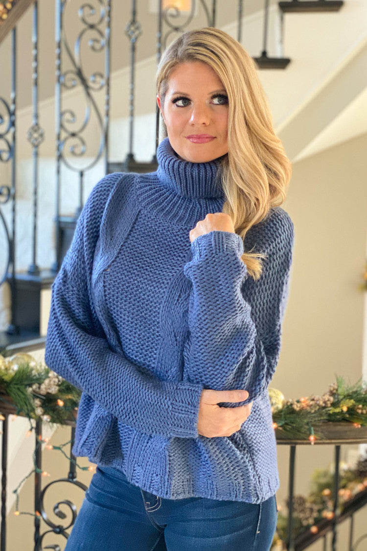 Foggy Nights Cable Knit Turtleneck Sweater : Blue