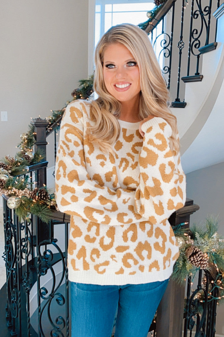 Eye Of The Tiger Animal Print Long Sleeve Sweater : Ivory