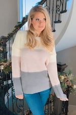 Day Dreamer Color Block Sweater : Mauve/Grey