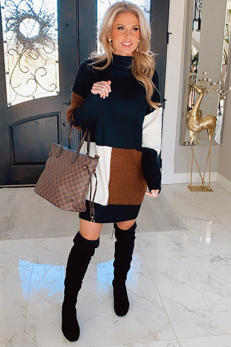 Opposites Attract Color Block Sweater Dress : Black