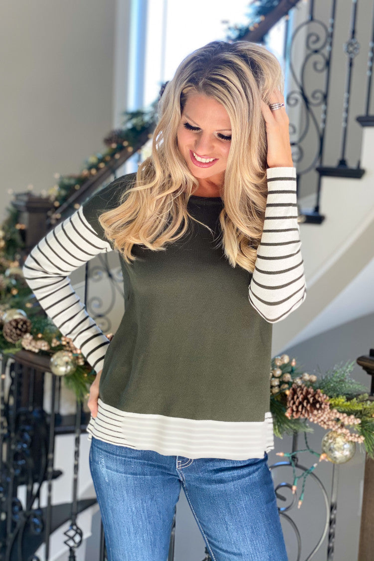 Love This Time Of Year Long Sleeve Striped Sweater : Olive/Ivory