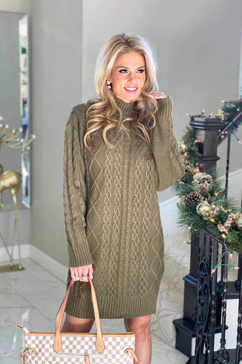 Dancing Till Dawn Cable Knit Sweater Dress : Olive
