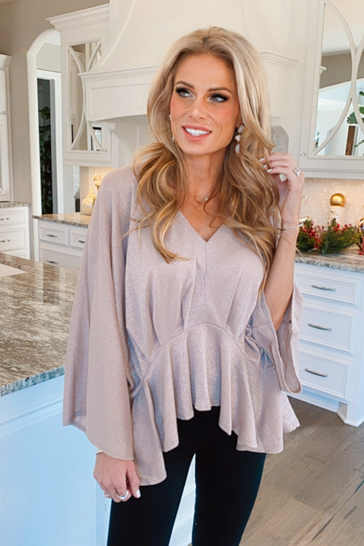 Not Afraid To Sparkle Peplum Top : Champagne