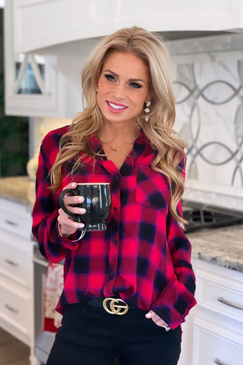Outdoor Adventure Button Down Plaid Top : Red/Black/Blue