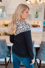 Every Occasion Leopard Print Cowl Neck Pullover : Charcoal