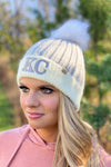 KC D&Y Color Block Beanie With Pom : Grey