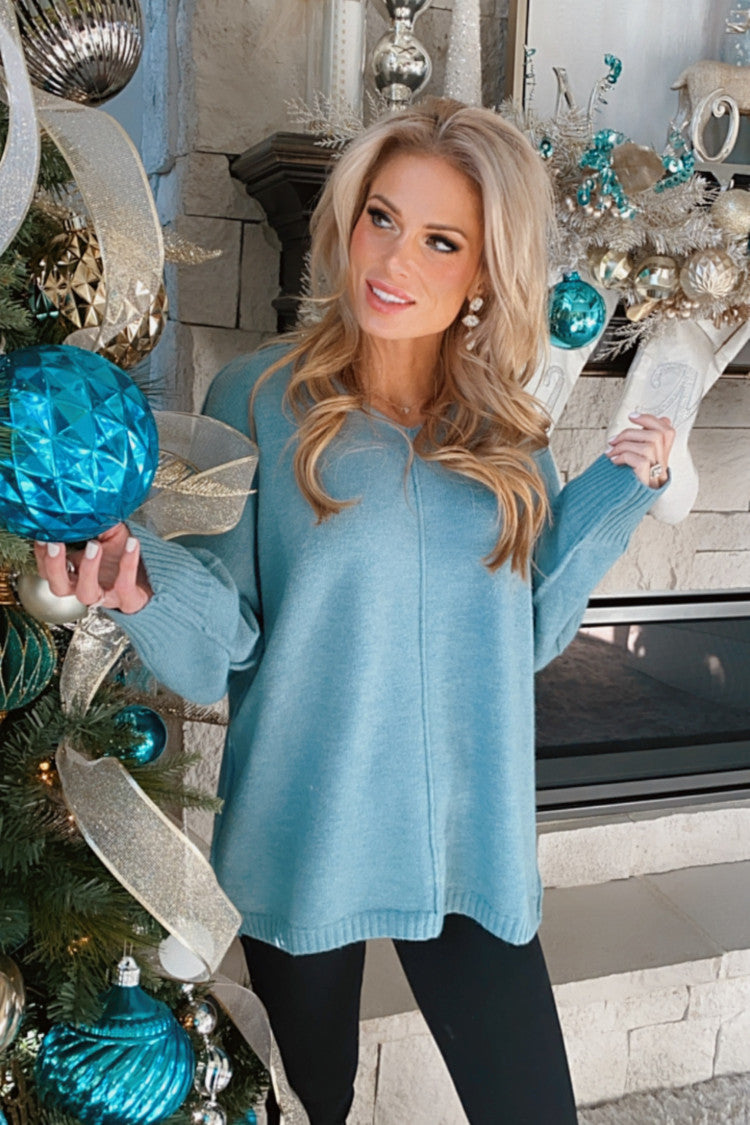 Had You Wishing Long Sleeve Pullover Sweater : Teal