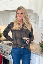 Outdoor Adventure Button Down Plaid Top : Olive/Black