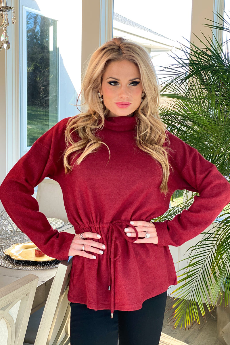 Hugs & Kisses Turtleneck Elastic Waist Pullover Sweater : Wine