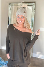 Stay Home Club Long Sleeve Top : Olive