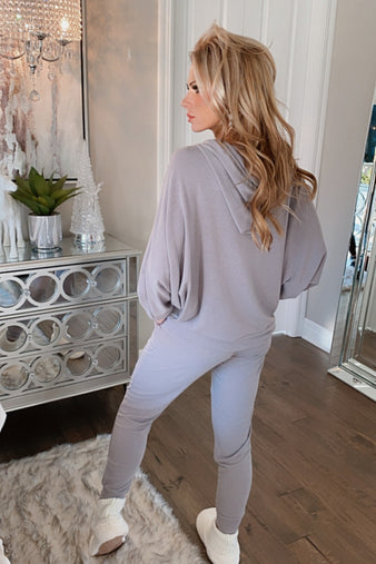 Going For Cozy Hoodie & Jogger Lounge Set : Lt. Grey