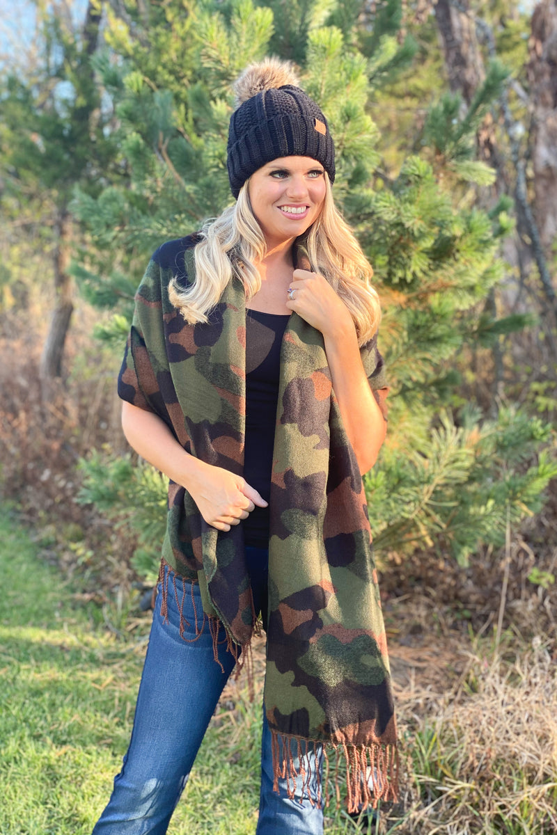 Let's Bundle Up Camo Scarf : Green