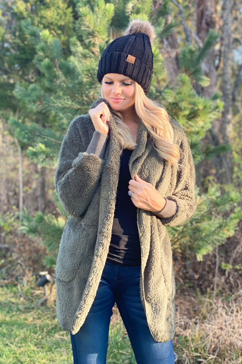 Campfire Cutie Furry Hoodie Jacket : Olive
