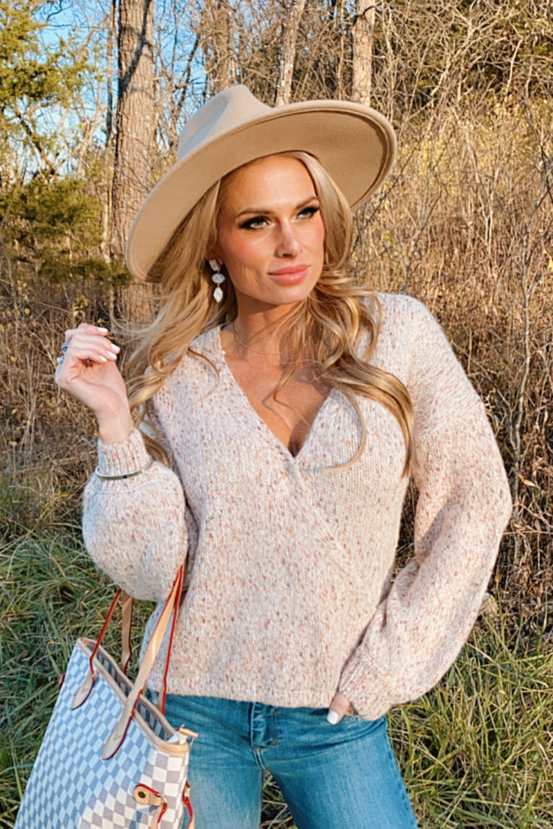 Crushing Hard V-Neck Knit Sweater : Taupe Combo