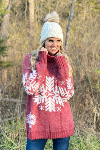 All Eyes On Me Turtleneck Snowflake Sweater : Red