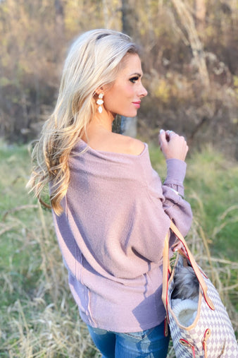 Must Be Love Long Sleeve Off Shoulder Tunic Top : Violet