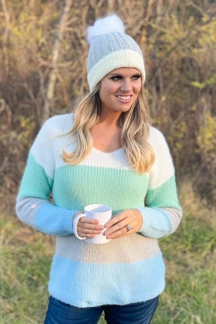 Chilled Out Color Block Sweater : Mint