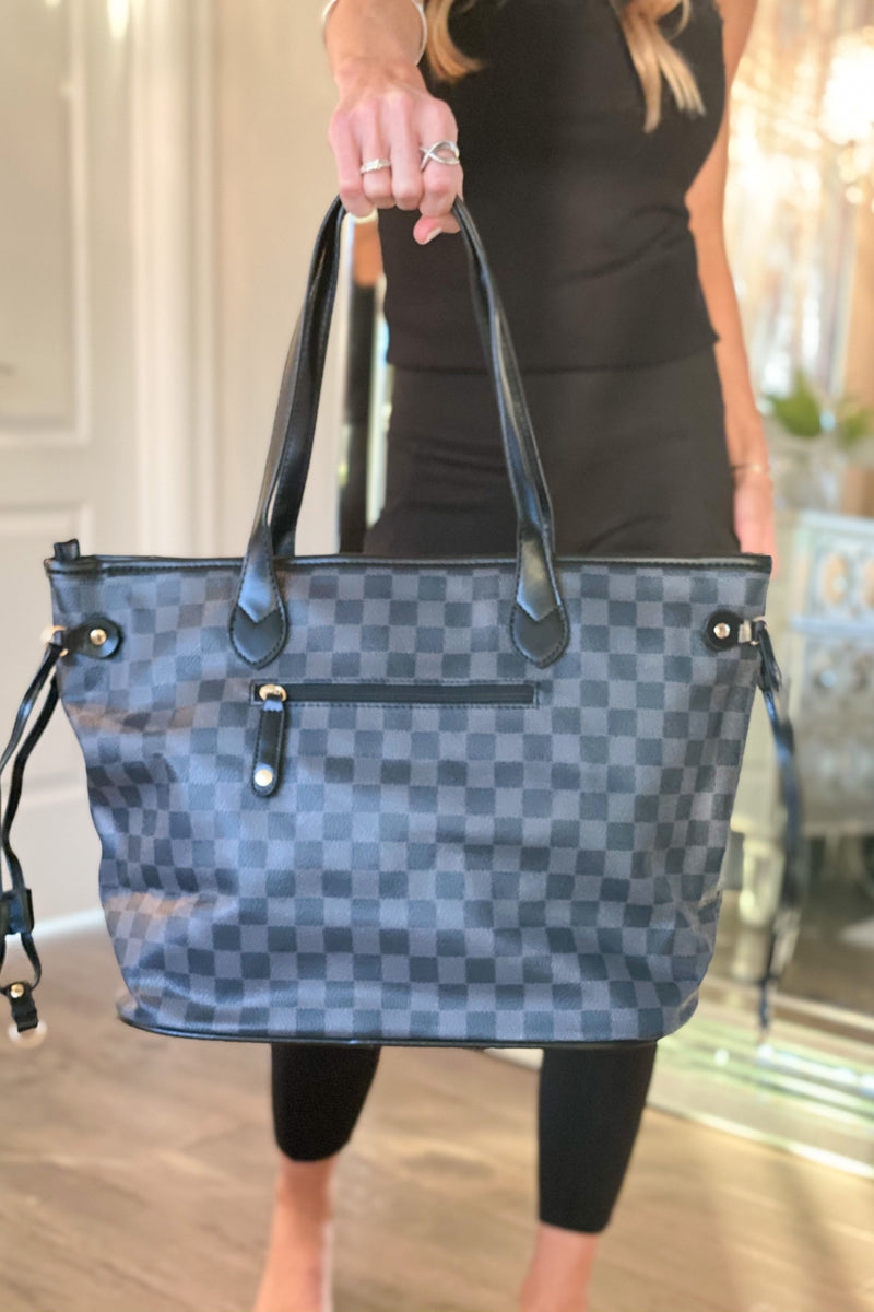 Always An Original Plaid Tote Bag & Wristlet : Blk/Grey