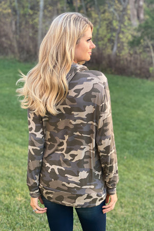 New To The Game Camo Hoodie With Pocket : Green