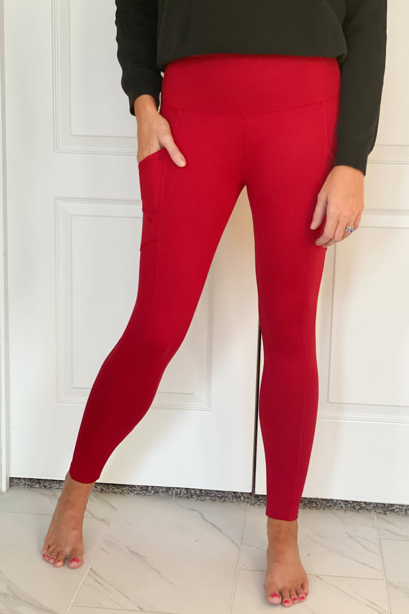 Move To The Beat Brushed Microfiber Leggings With Pockets : Red