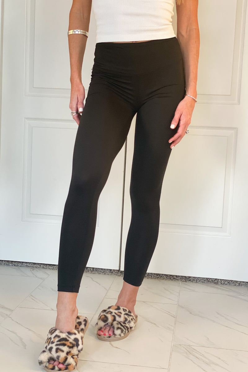 Be There Soon Brushed Microfiber Leggings : Black