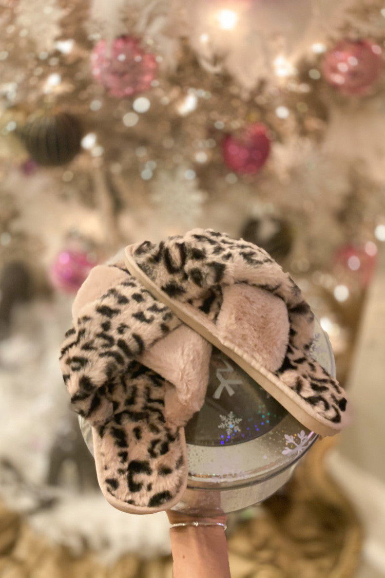 Plush Leopard Slipper : Pink