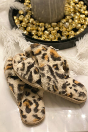 Plush Leopard Slipper : Tan