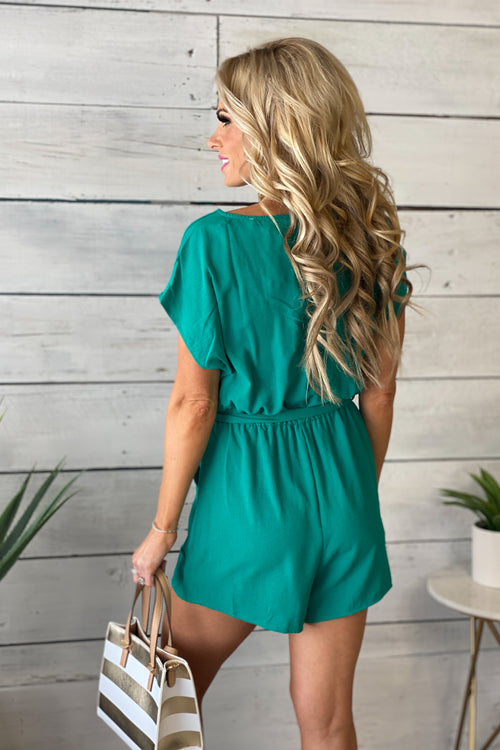 Rooftop Drinks Cowl Neck Cinched Waist Romper : Emerald