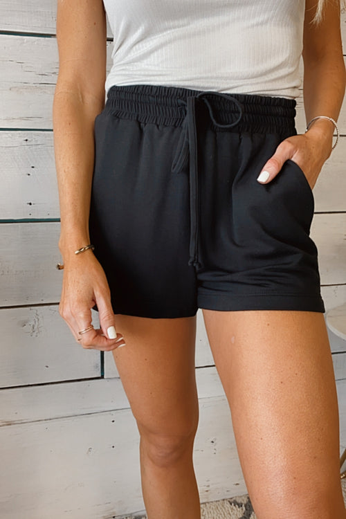 Lounge Around Elastic Waist Drawstring Shorts : Black