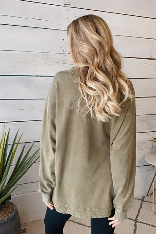 Running On Coffee Long Sleeve Pullover : Olive