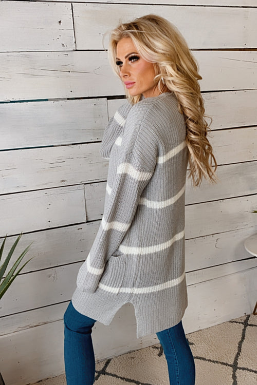 Wrapped In Cuddles Striped Knit Cardigan : Lt. Grey/Ivory