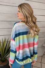 In Your Dreams Long Sleeve Striped Pullover : Pink/Multi