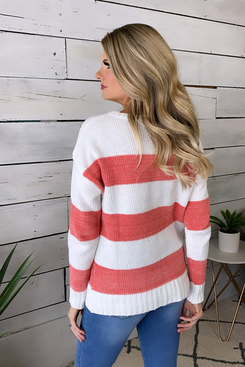 Enchanted Evening Striped Chenille Sweater : Peach/White