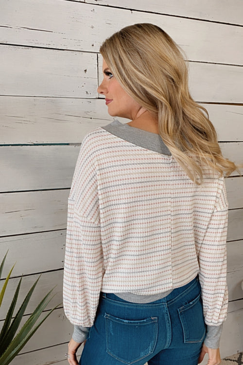 Dream Girl Striped Waffle Knit V-Neck Pullover : Ivory/Grey
