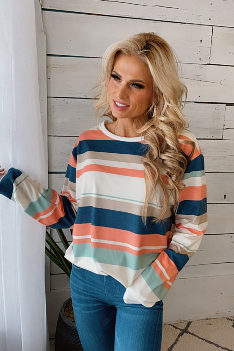 Wished For This Long Sleeve Striped Pullover : Peach/Multi